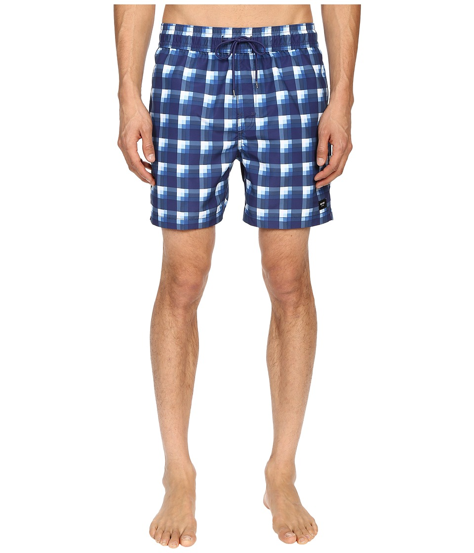 Jack Spade Plaid Grannis Swim Trunks (Blue) Men