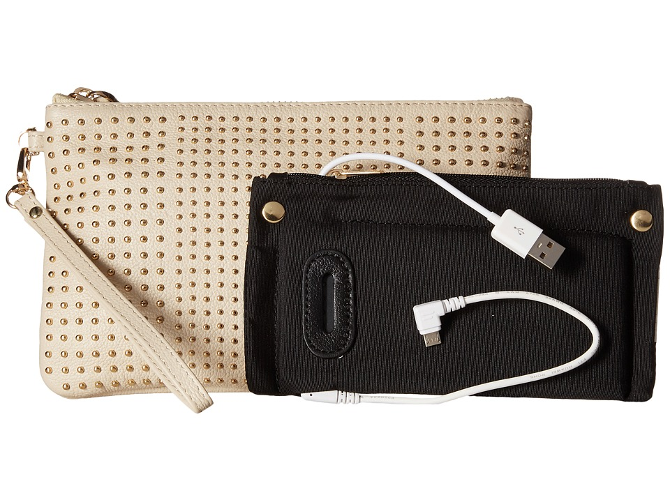Mighty Purse - Cow Leather Charging Stud Wristlet (Cream) Wristlet Handbags
