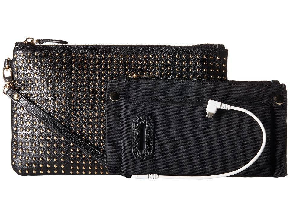 Mighty Purse - Cow Leather Charging Stud Wristlet (Black) Wristlet Handbags