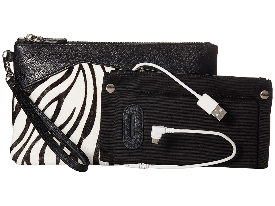 Mighty Purse - Cow Leather Charging Zebra Wristlet (Black/White) Wristlet Handbags