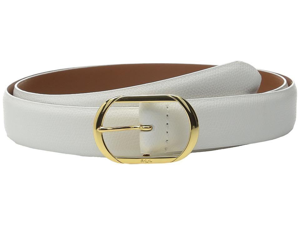 LAUREN Ralph Lauren - Whitby 1 1/8 Centerbar Belt (Bright White) Women's Belts