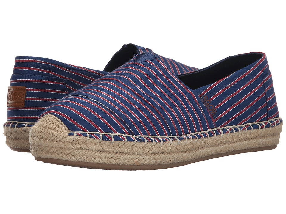 BOBS from SKECHERS - Lowlights - Water Front (Navy/Red) Women's Slip on Shoes