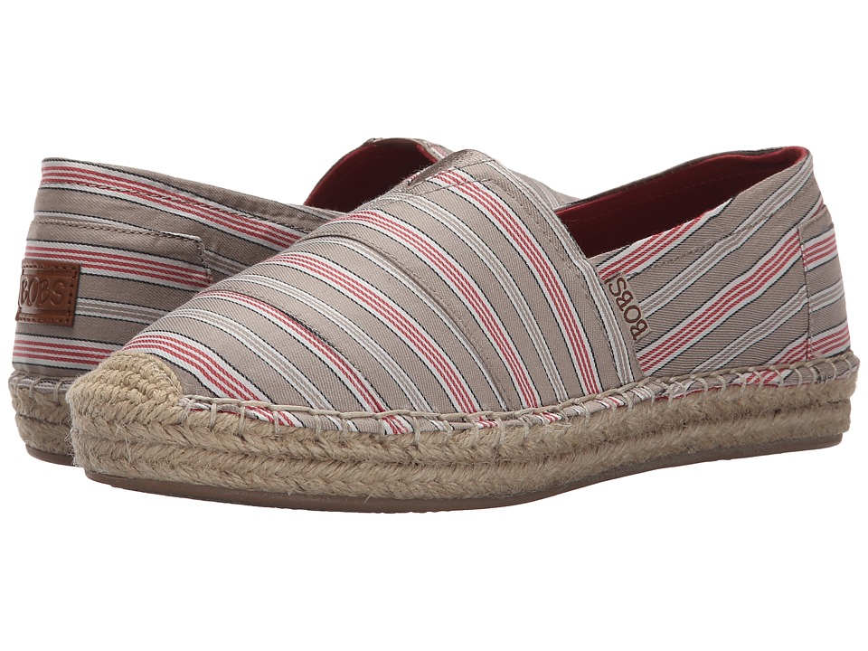 BOBS from SKECHERS - Lowlights - Water Front (Taupe/Coral) Women's Slip on Shoes