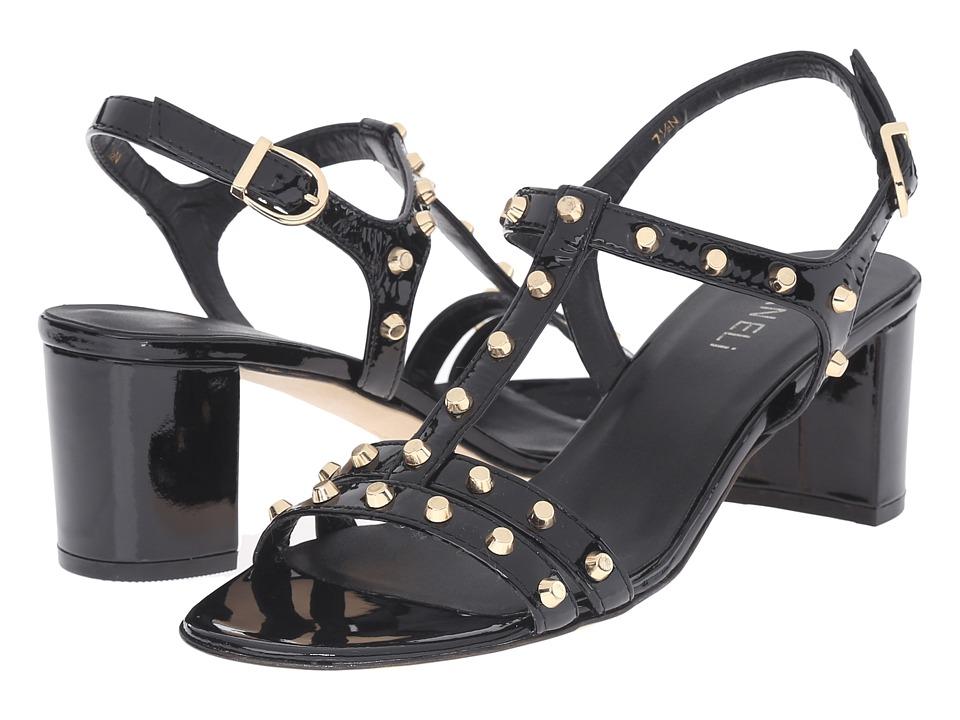 Vaneli - Mette (Black Smack Patent/Gold Flat Cones) Women's Sandals