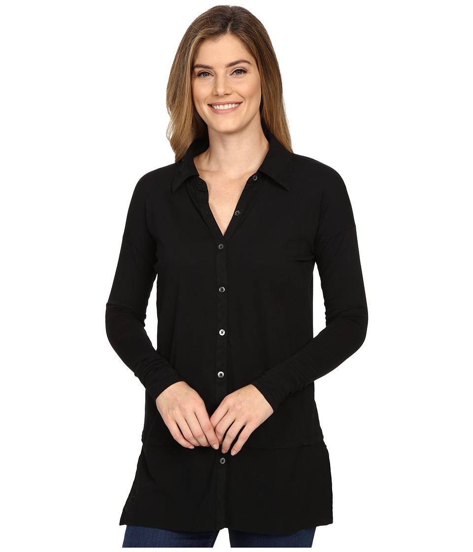 Mod-o-doc - Supreme Jersey Drop Shoulder Contrast Hem Button Front Shirt (Black) Women's Clothing