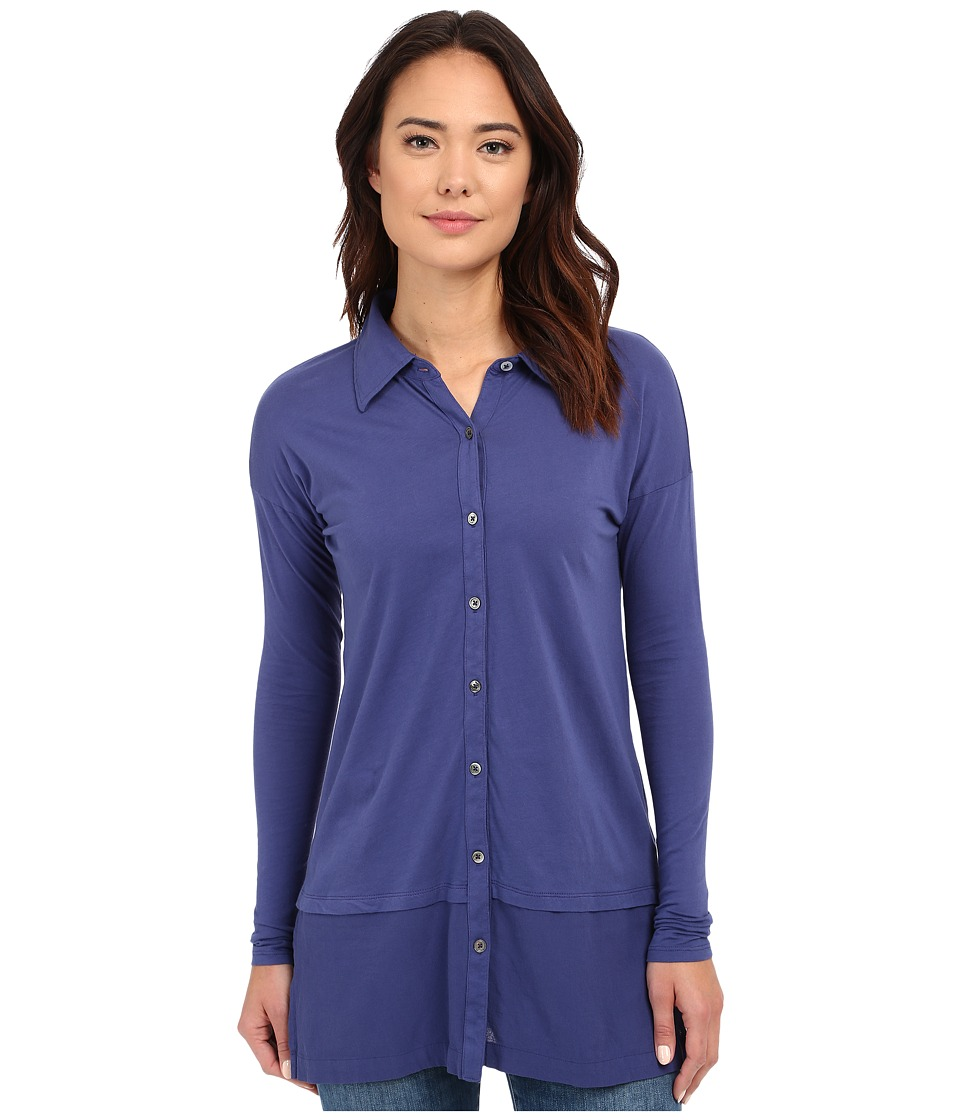 Mod-o-doc - Supreme Jersey Drop Shoulder Contrast Hem Button Front Shirt (Dark Iris) Women's Clothing