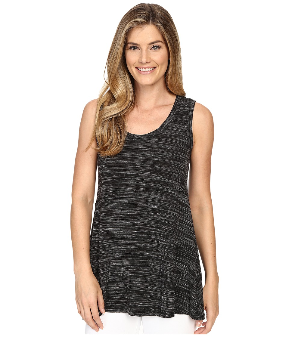 Mod-o-doc - Space Dyed Rayon Spandex Jersey Raw Edge Seamed Tank Top (Black Heather) Women's Sleeveless