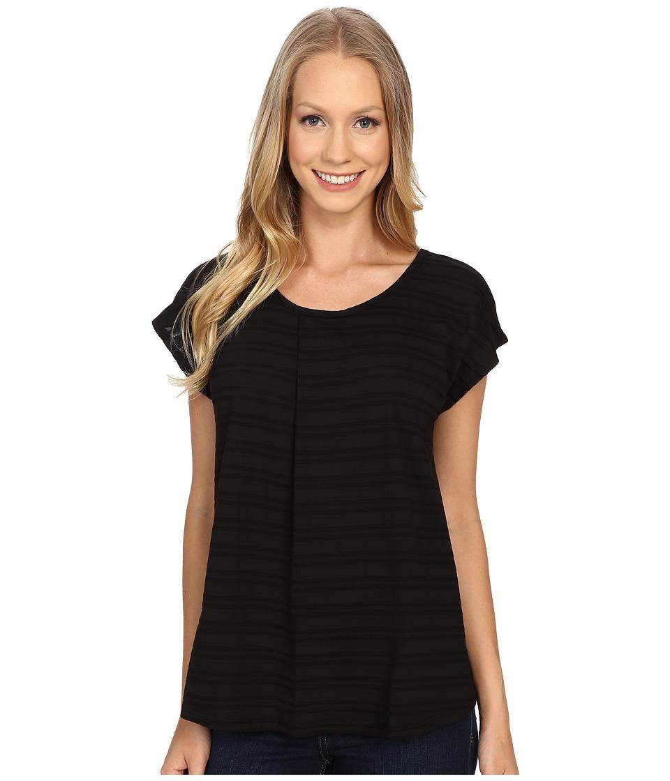 Mod-o-doc - Tonal Tencel Stripe Short Sleeve Pleat Over Tee (Black) Women's Short Sleeve Pullover