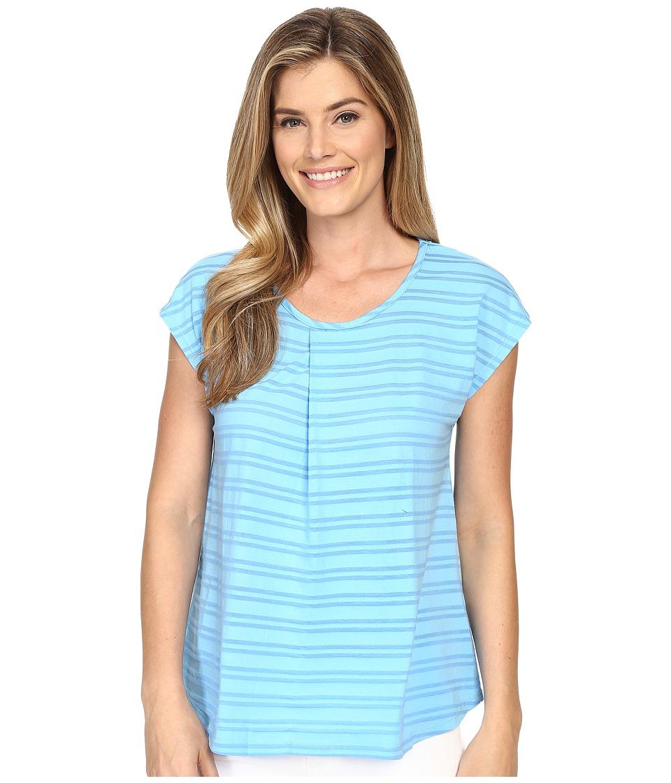 Mod-o-doc - Tonal Tencel Stripe Short Sleeve Pleat Over Tee (Clear Water) Women's Short Sleeve Pullover