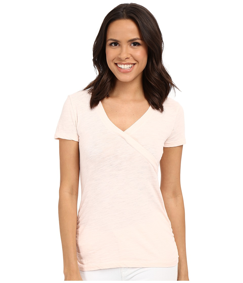 Mod-o-doc - Slub Jersey Side Shirred V-Neck Tee (Ballerina) Women's Short Sleeve Pullover
