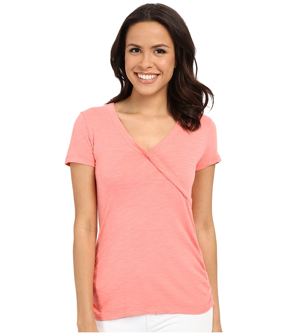 Mod-o-doc - Slub Jersey Side Shirred V-Neck Tee (Cafe Coral) Women's Short Sleeve Pullover