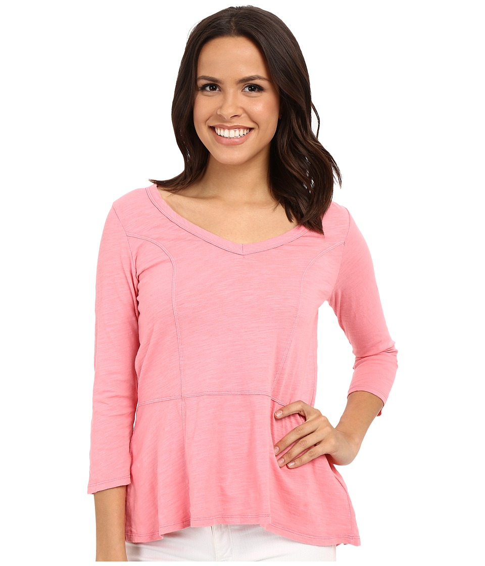 Mod-o-doc - Slub Jersey Seamed V-Neck Tee (Rose) Women's Long Sleeve Pullover