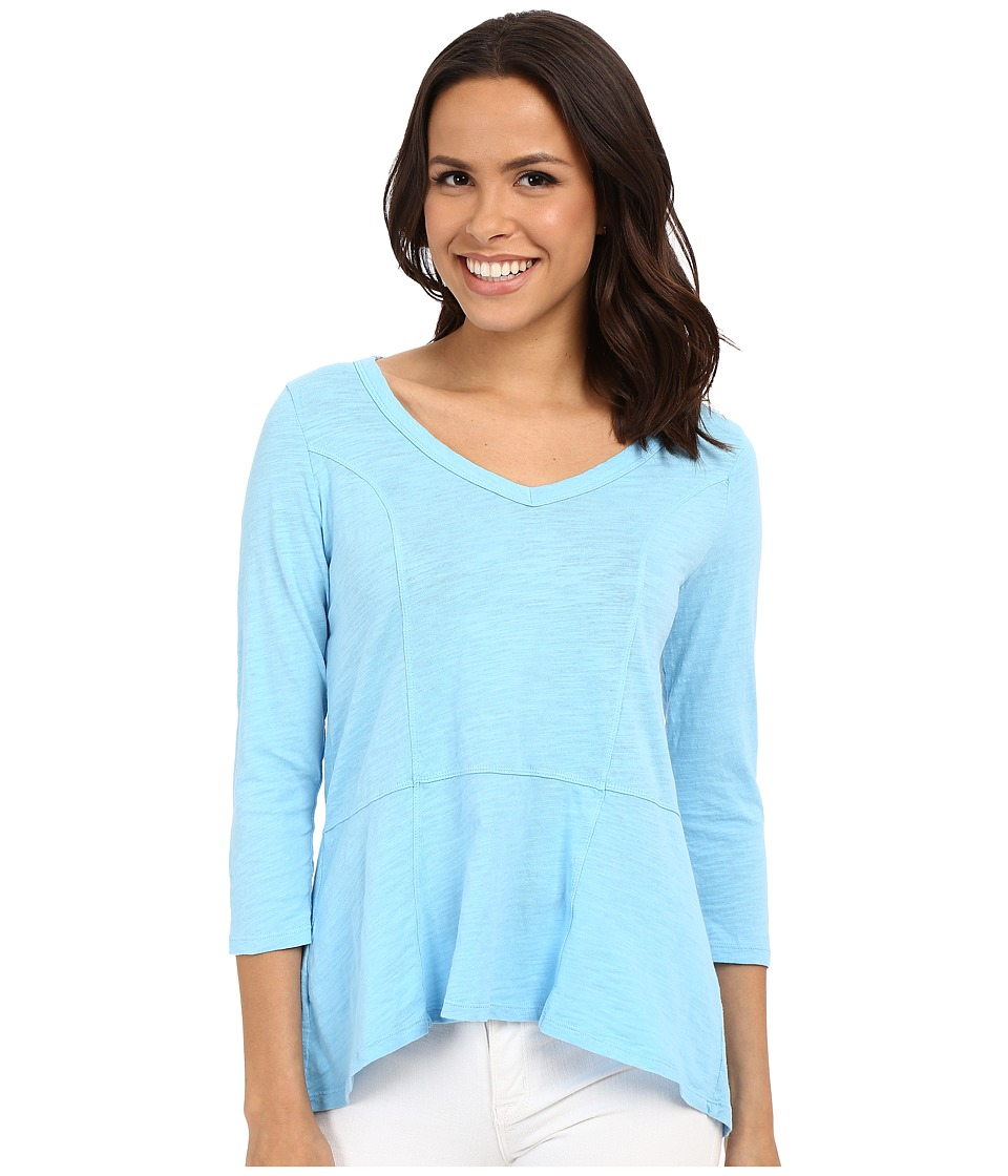 Mod-o-doc - Slub Jersey Seamed V-Neck Tee (Clear Water) Women's Long Sleeve Pullover