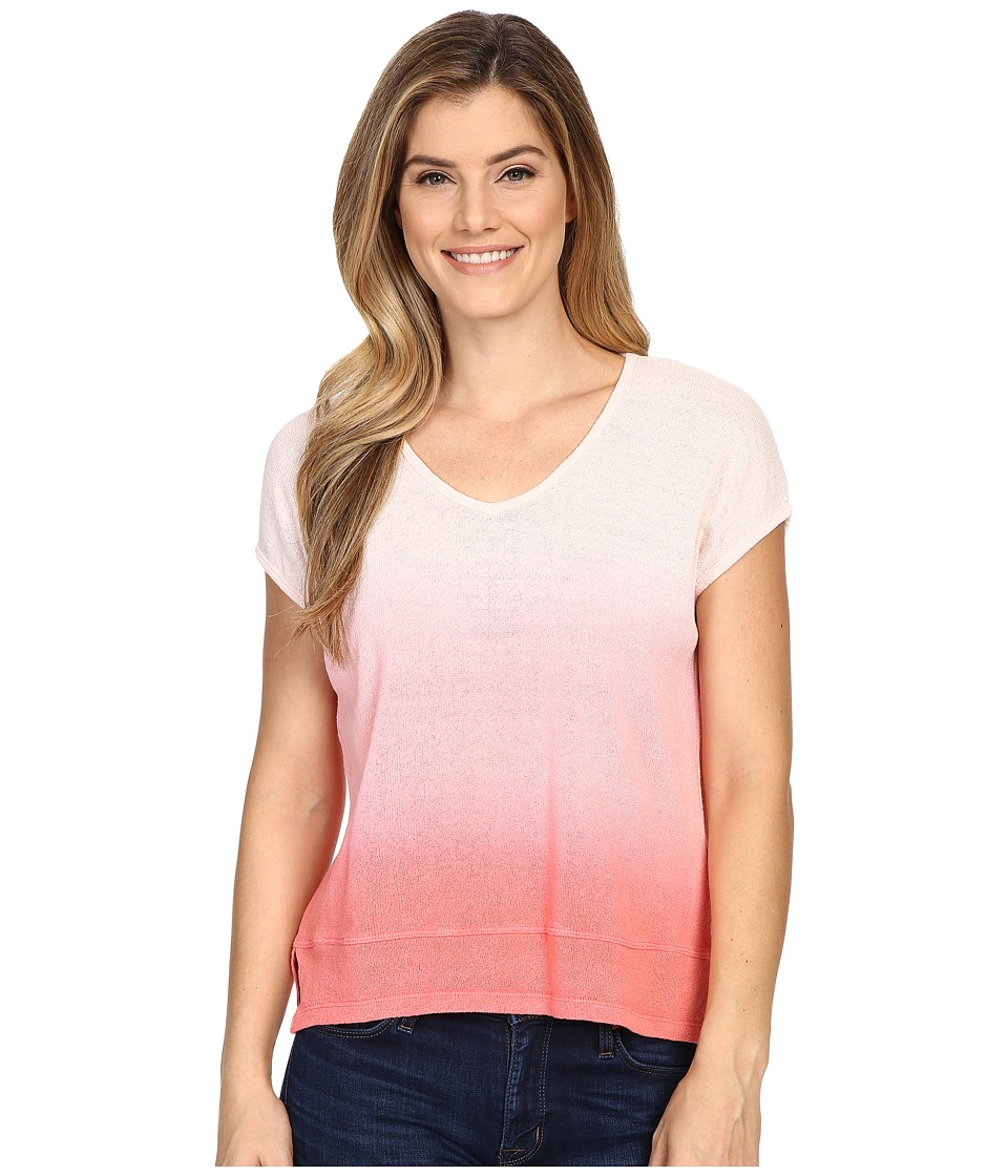 Mod-o-doc - Textured Sweater Knit Dip Dye Boxy V-Neck Pullover (Rose) Women's Sweater