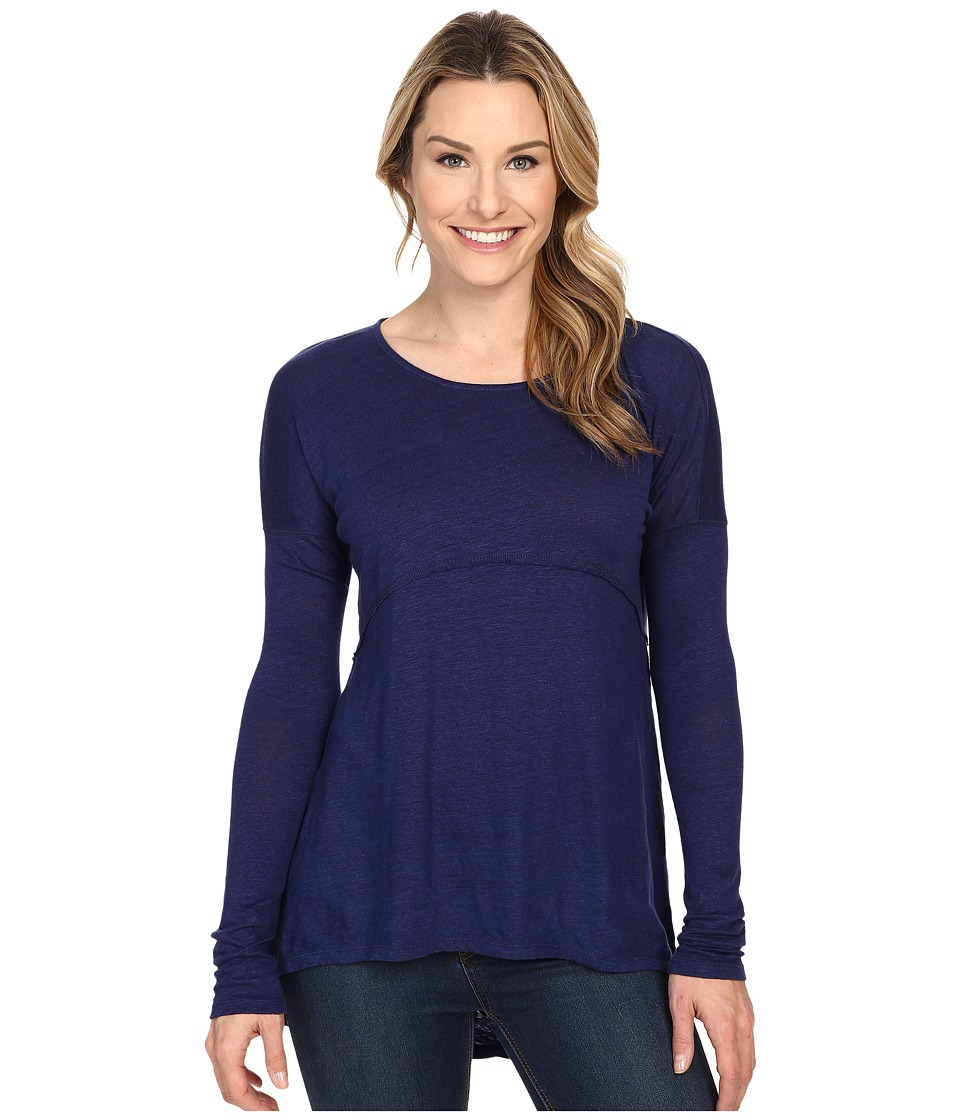 Mod-o-doc - Linen Nylon Knit Drop Empire Seam Tee (Inkwell) Women's Long Sleeve Pullover