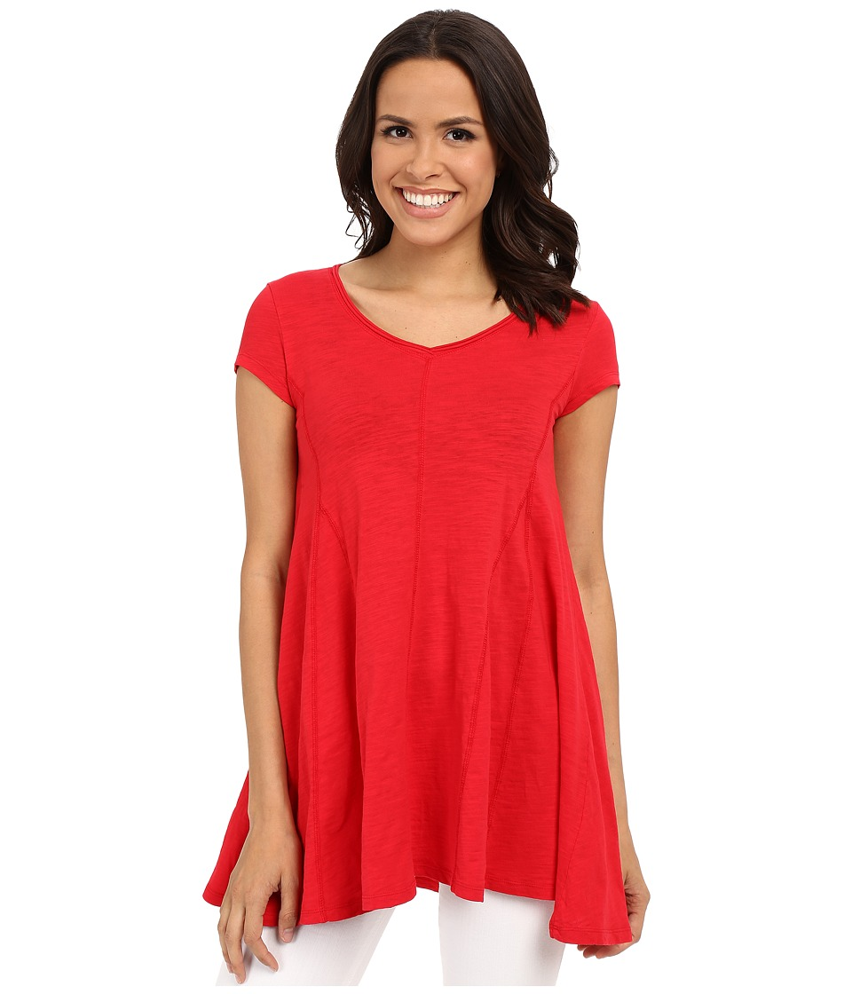 Mod-o-doc - Slub Jersey Side Shirred V-Neck Tunic (Zinnia) Women's Short Sleeve Pullover