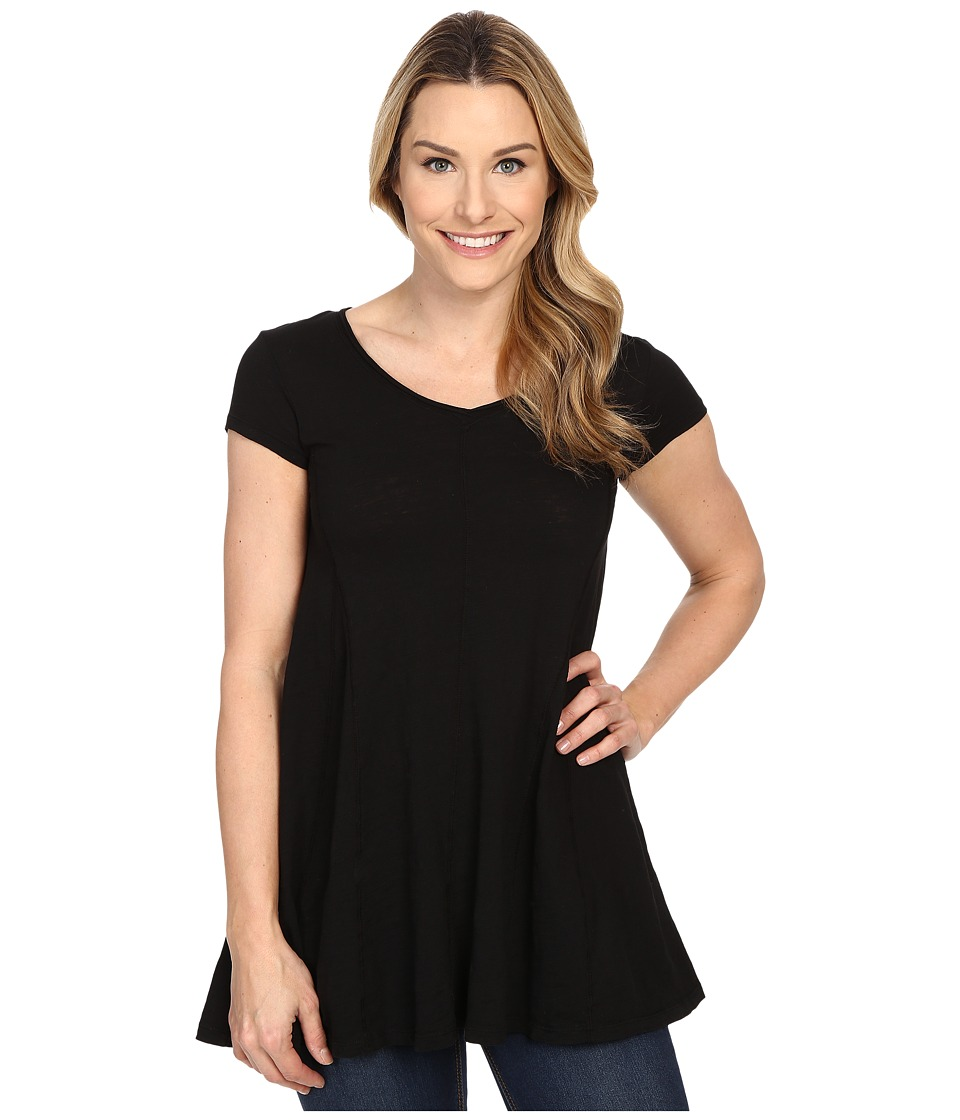 Mod-o-doc - Slub Jersey Side Shirred V-Neck Tunic (Black) Women's Short Sleeve Pullover