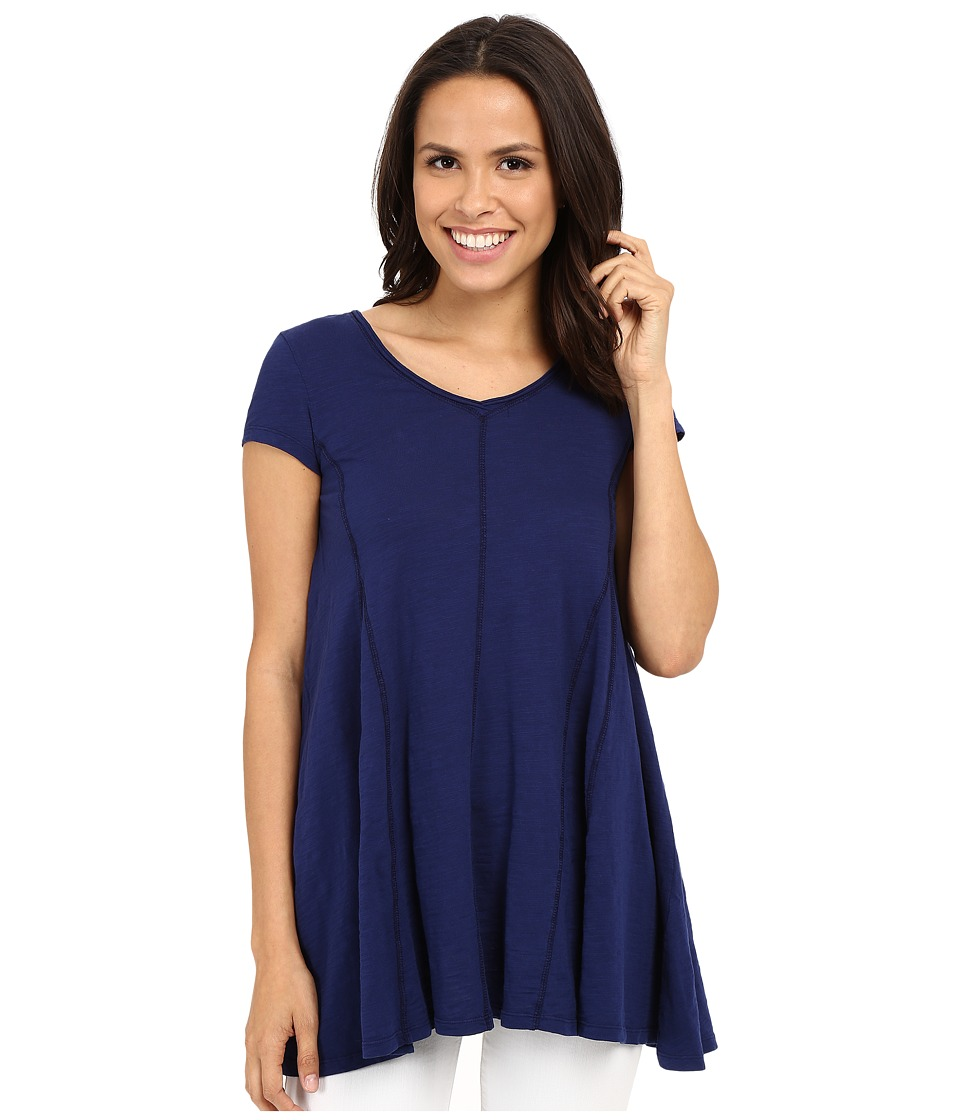 Mod-o-doc - Slub Jersey Side Shirred V-Neck Tunic (Inkwell) Women's Short Sleeve Pullover