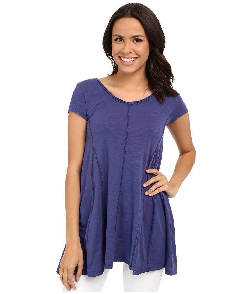 Mod-o-doc - Slub Jersey Side Shirred V-Neck Tunic (Dark Iris) Women's Short Sleeve Pullover