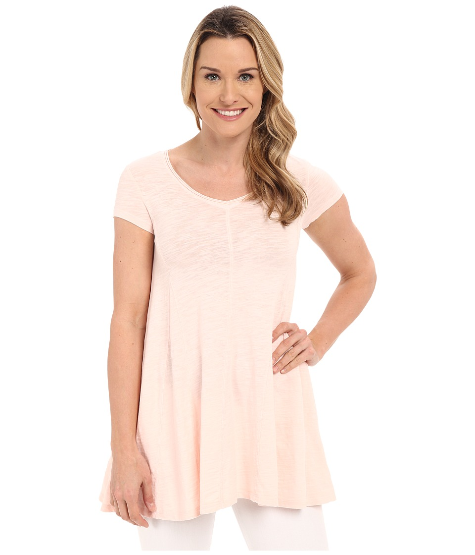 Mod-o-doc - Slub Jersey Side Shirred V-Neck Tunic (Ballerina) Women's Short Sleeve Pullover