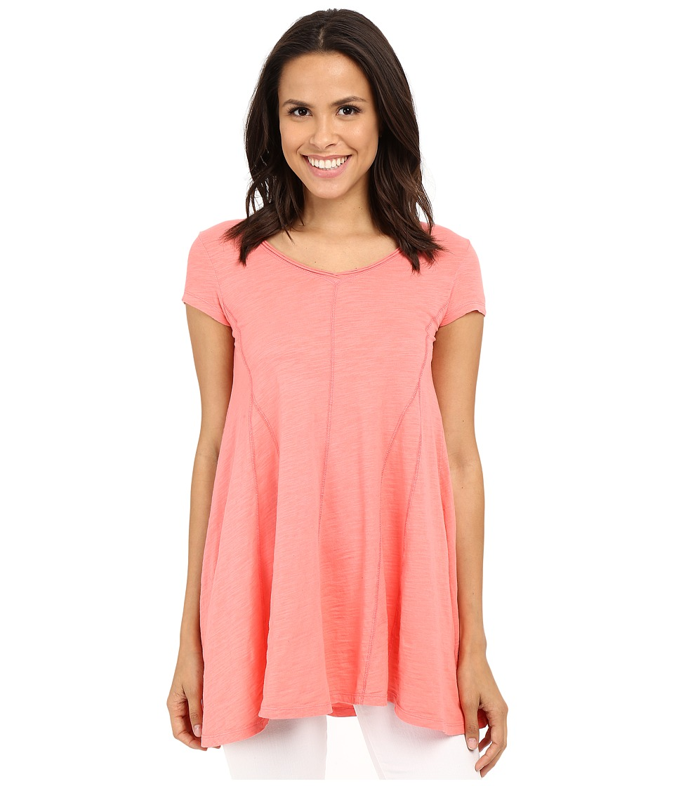 Mod-o-doc - Slub Jersey Side Shirred V-Neck Tunic (Cafe Coral) Women's Short Sleeve Pullover