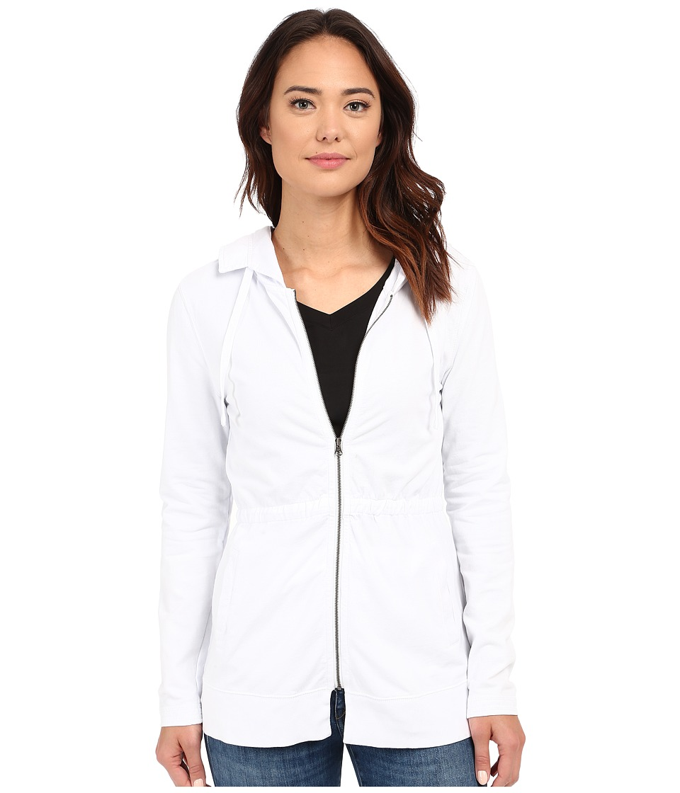 Mod-o-doc - Lightweight Cashmere French Terry Cinched Waist Hooded Jacket (White) Women's Coat