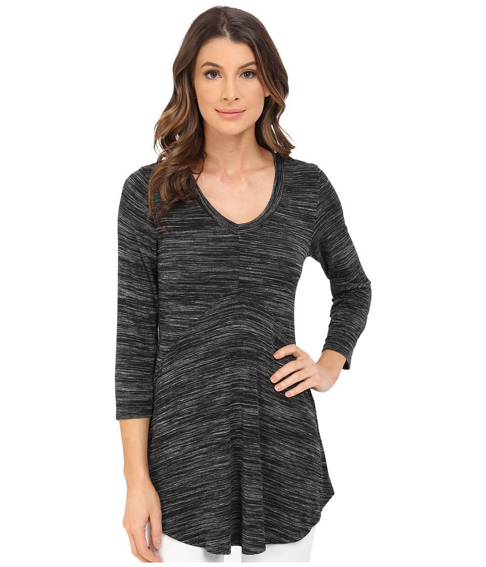 Mod-o-doc - Space Dyed Rayon Spandex Jersey 3/4 Sleeve Seamed V-Neck Tunic (Black Heather) Women's Blouse