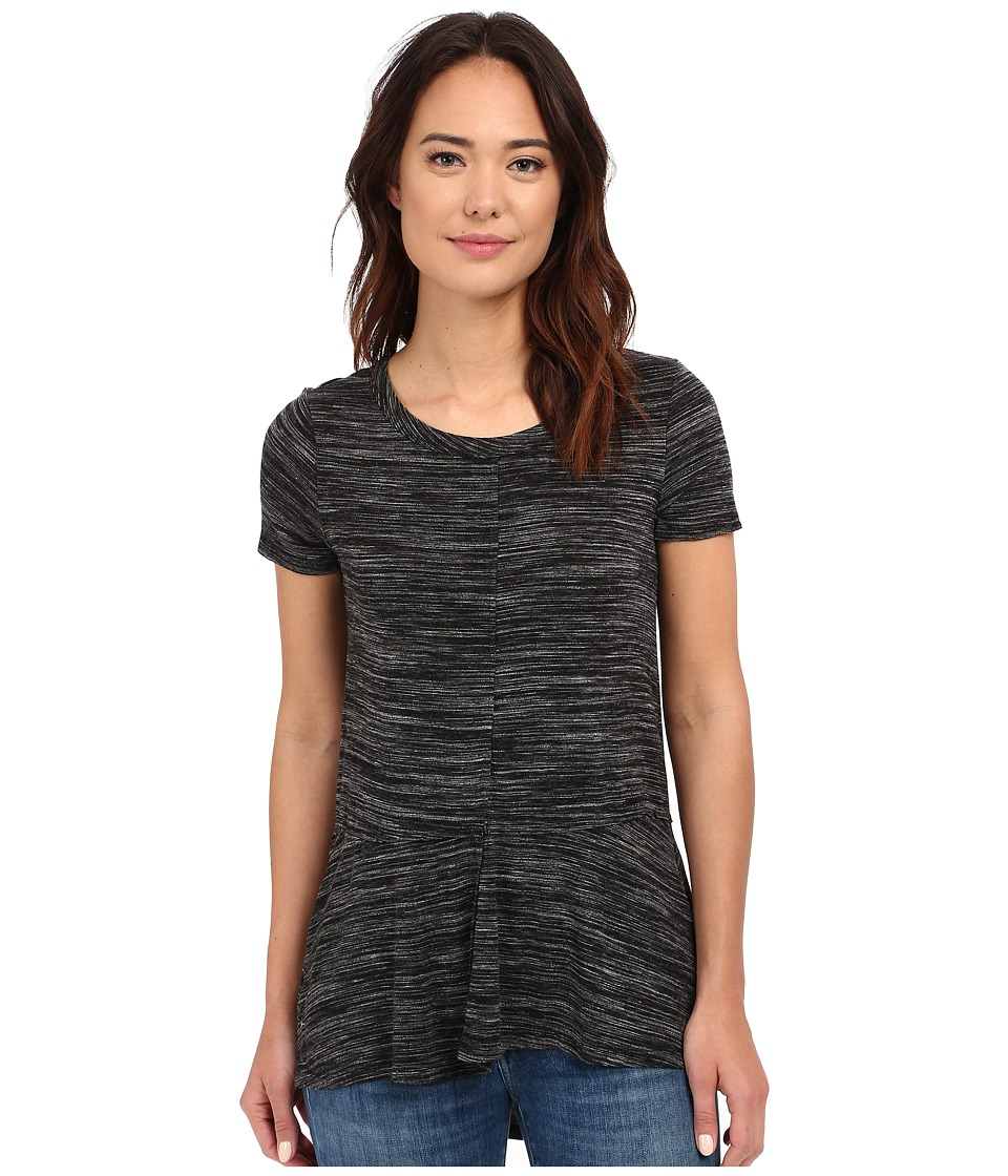 Mod-o-doc - Space Dyed Rayon Spandex Jersey Seamed Short Sleeve Tee (Black Heather) Women's Short Sleeve Pullover