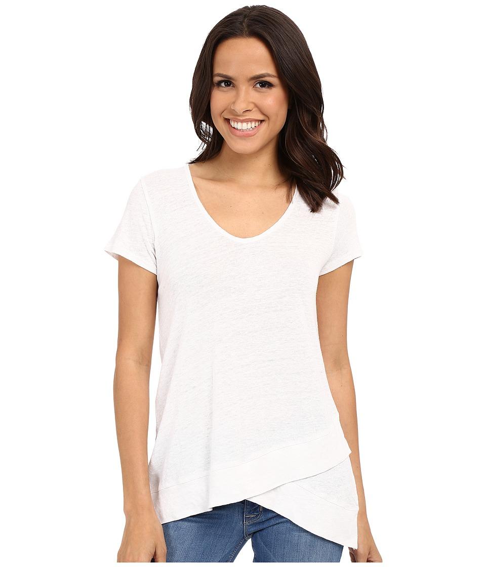 Mod-o-doc - Linen Nylon Knit Crossover Tank Short Sleeve Crossover Hem Tee (White) Women's Short Sleeve Pullover