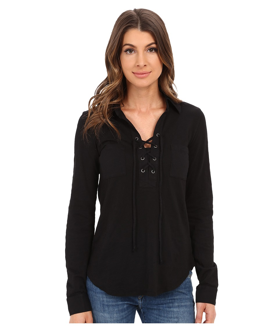 Mod-o-doc - Slub Jersey Lace-Up Shirt (Black) Women's Long Sleeve Pullover