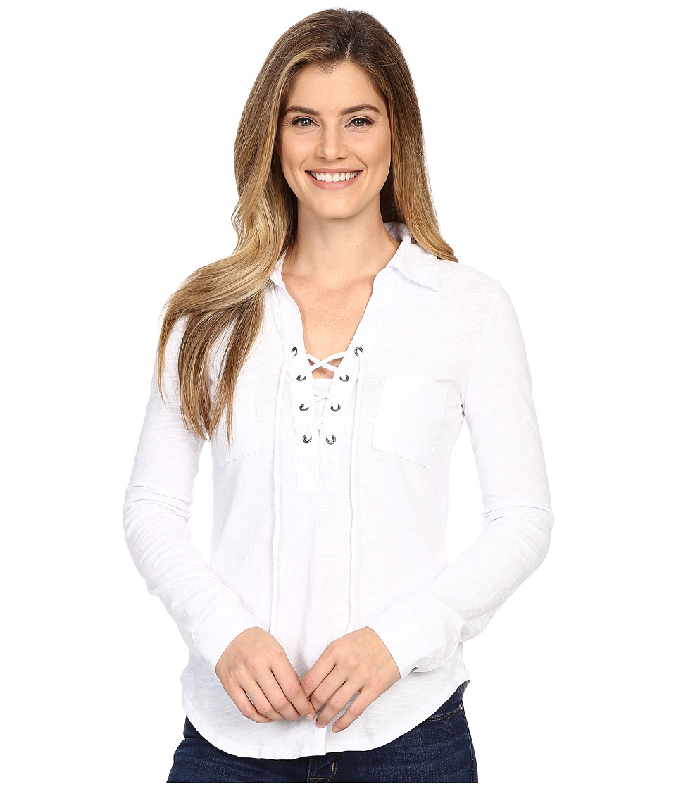 Mod-o-doc - Slub Jersey Lace-Up Shirt (White) Women's Long Sleeve Pullover