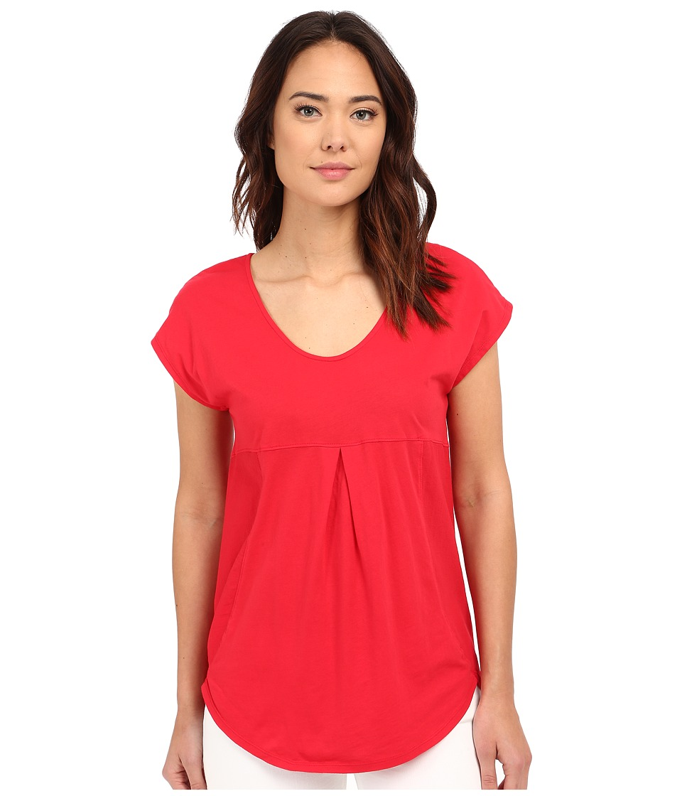 Mod-o-doc - Supreme Jersey Short Sleeve Tee with Contrast Panel (Zinnia) Women's Blouse
