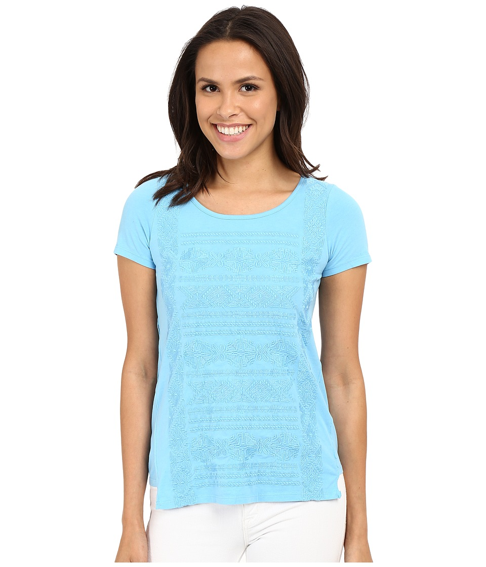 Mod-o-doc - Classic Jersey Short Sleeve Embroidered Tee (Clear Water) Women's Short Sleeve Pullover
