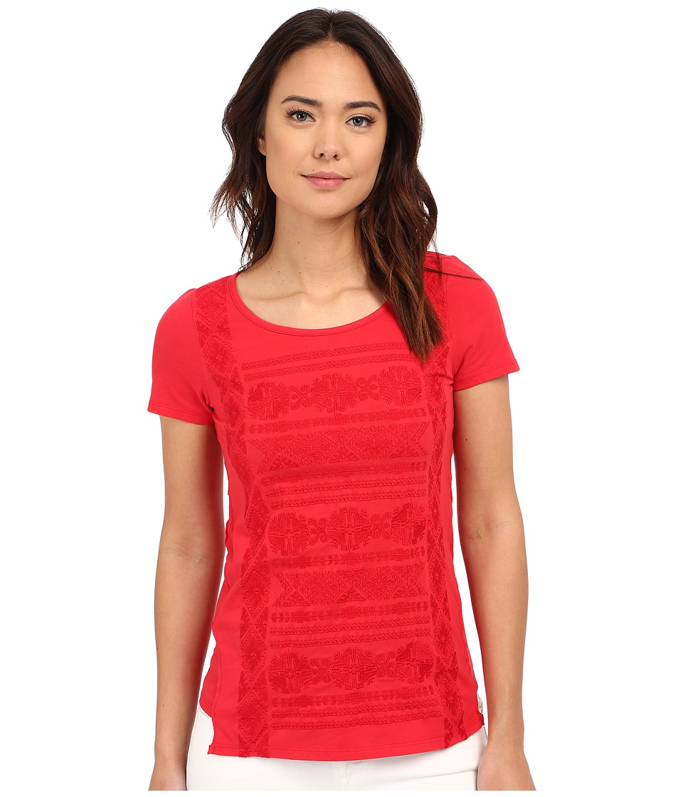 Mod-o-doc - Classic Jersey Short Sleeve Embroidered Tee (Zinnia) Women's Short Sleeve Pullover