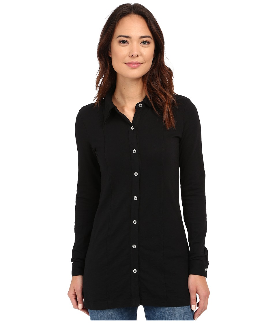 Mod-o-doc - Heavier Slub Jersey Raw Edge Seamed Button Up Long Sleeve Tee (Black) Women's Long Sleeve Button Up