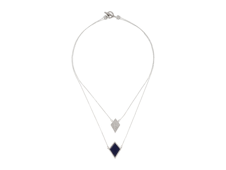 Karen Kane - Diamante Double Strand Necklace (Blue) Necklace