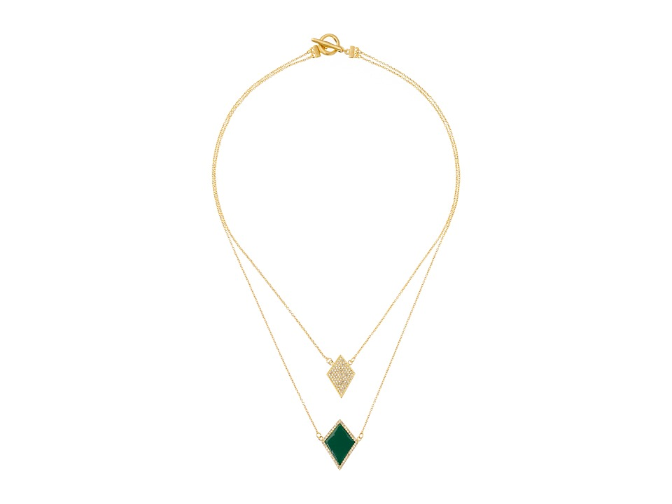 Karen Kane - Diamante Double Strand Necklace (Green) Necklace