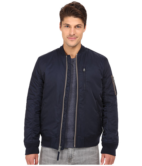 Lucky Brand - Nylon Bomber Jacket (Savile Row Navy) Men's Coat
