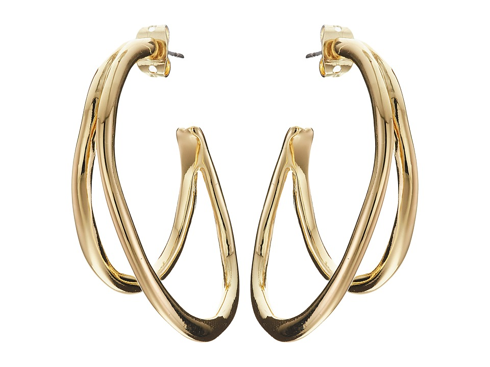 Karen Kane - New Moon Double Hoop Earrings (Gold) Earring