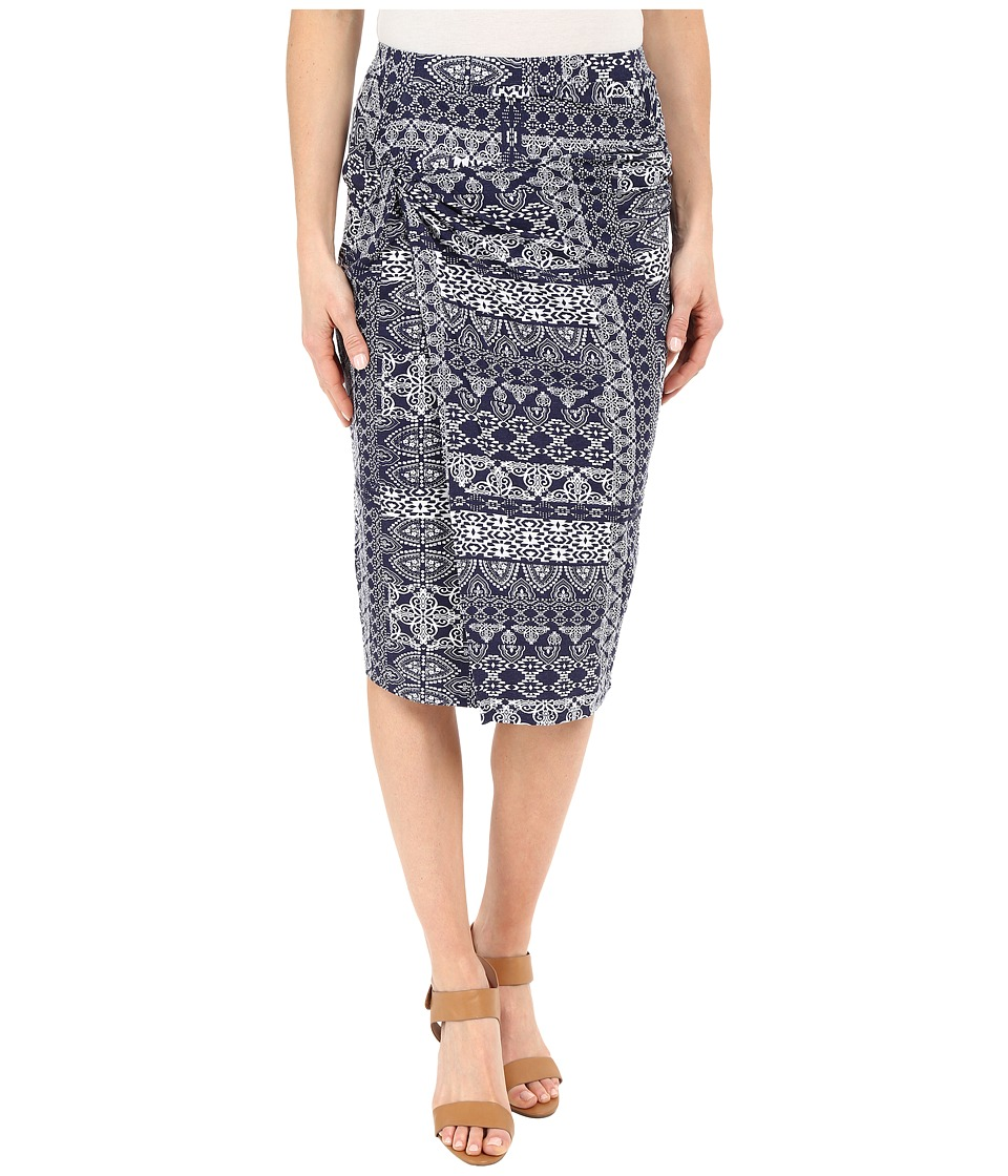 Mod-o-doc - Patchwork Tiles Printed Rayon Spandex Jersey Knotted Wrap Skirt (Inkwell) Women's Skirt