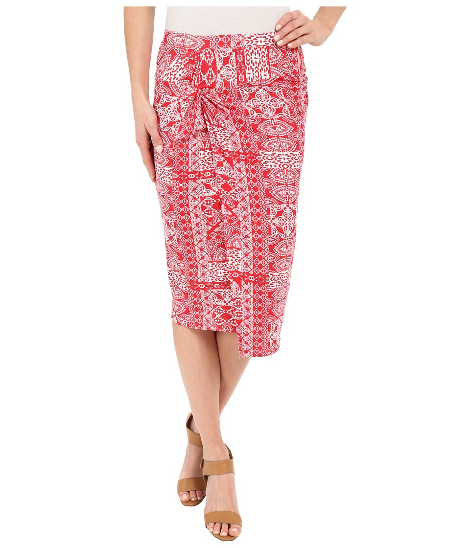 Mod-o-doc - Patchwork Tiles Printed Rayon Spandex Jersey Knotted Wrap Skirt (Zinnia) Women's Skirt