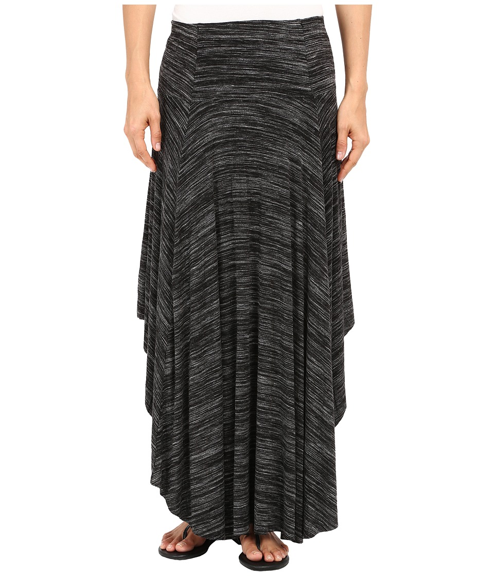 Mod-o-doc - Space Dyed Rayon Spandex Jersey Round Midi Skirt (Black Heather) Women's Skirt