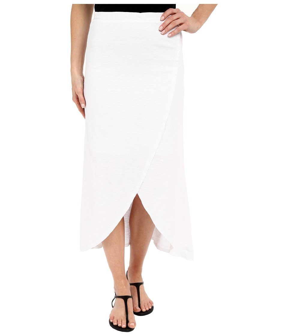 Mod-o-doc Heavier Slub Jersey Faux Wrap Maxi Skirt (White) Women