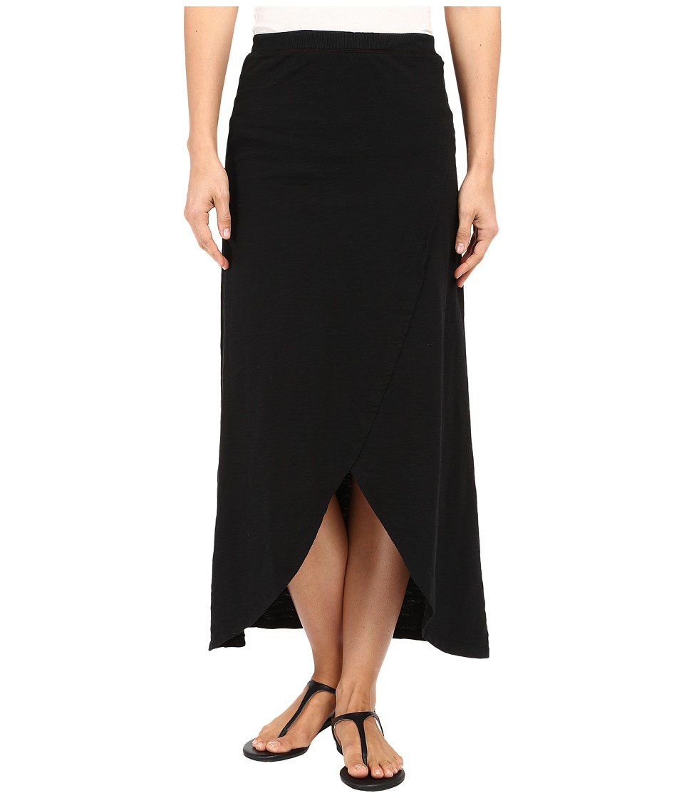 Mod-o-doc - Heavier Slub Jersey Faux Wrap Maxi Skirt (Black) Women's Skirt