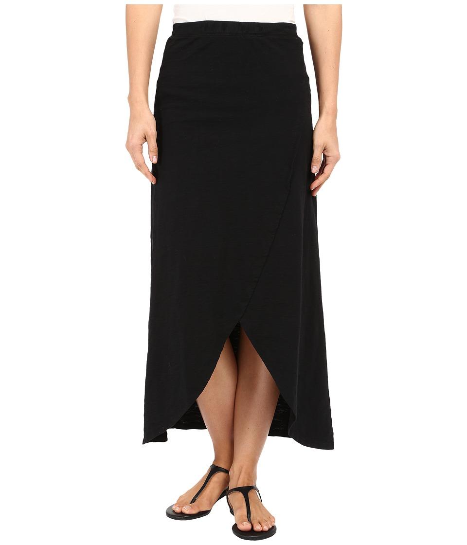 Mod-o-doc - Heavier Slub Jersey Faux Wrap Maxi Skirt (Black) Women's Skirt