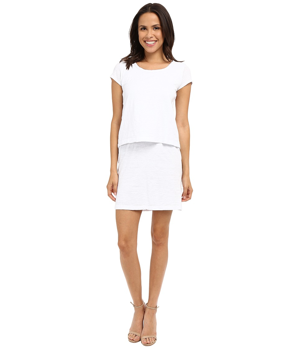 Mod-o-doc - Slub Jersey Double Layer T-Shirt Dress (White) Women's Dress