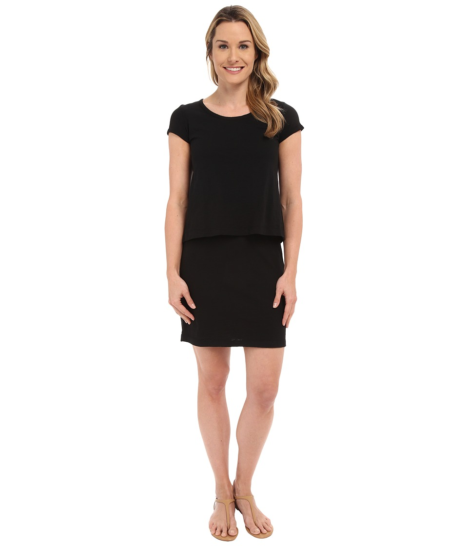 Mod-o-doc - Slub Jersey Double Layer T-Shirt Dress (Black) Women's Dress