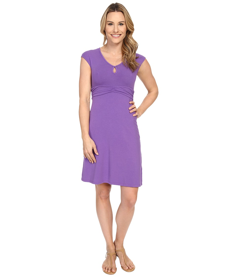Mod-o-doc - Cotton Modal Spandex Jersey Classic Keyhole Cap Sleeve Dress (Dahlia) Women's Dress