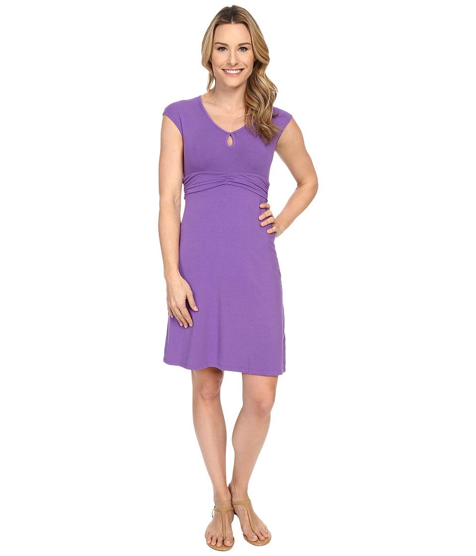 Mod-o-doc Cotton Modal Spandex Jersey Classic Keyhole Cap Sleeve Dress (Dahlia) Women