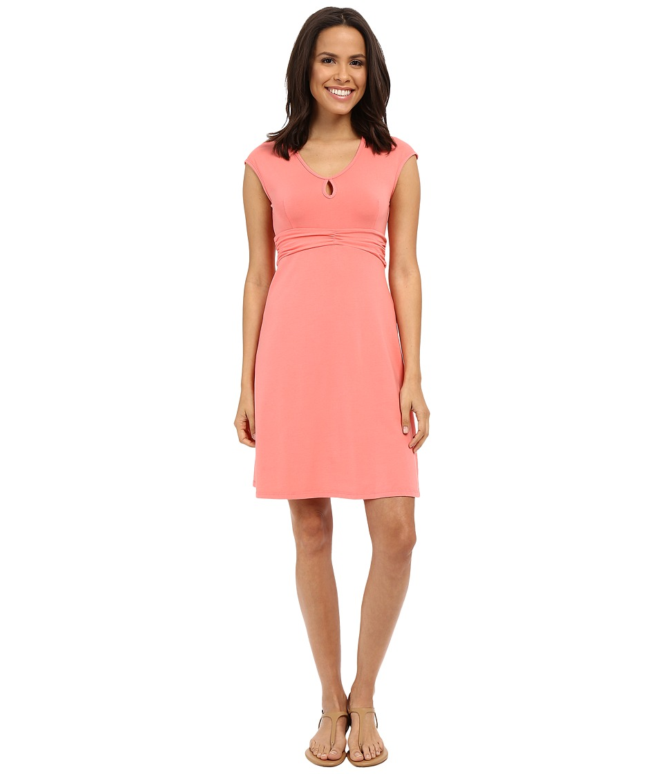 Mod-o-doc Cotton Modal Spandex Jersey Classic Keyhole Cap Sleeve Dress (Cafe Coral) Women